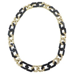 Fred of Paris 18 Karat Yellow Gold Onyx and Diamond Necklace