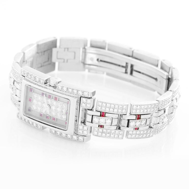 Fred of Paris 18 Karat White Gold Pave Diamond Ladies Watch In Excellent Condition For Sale In Dallas, TX
