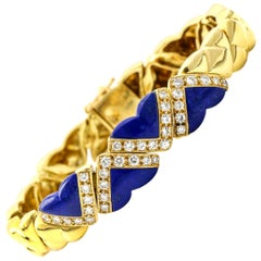Fred of Paris 18 Karat Yellow Gold Lapis Lazuli Diamond Heart Link Bracelet