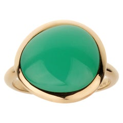 Fred of Paris 7ct Chrysophase Cabochon Yellow Gold Cocktail Ring