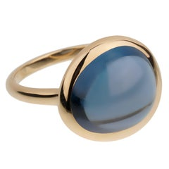 Fred of Paris 7ct London Topaz Cabochon Yellow Gold Cocktail Ring