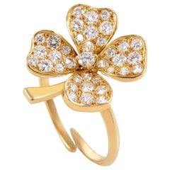Fred of Paris Diamond Yellow Gold 4-Leaf Clover Ring