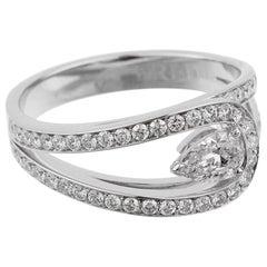 Fred of Paris GIA Certified .85 Carat Lovelight Pear Diamond Platinum Ring