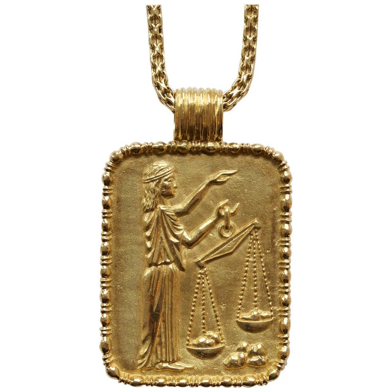 Fred of Paris Gold Libra Pendant For Sale