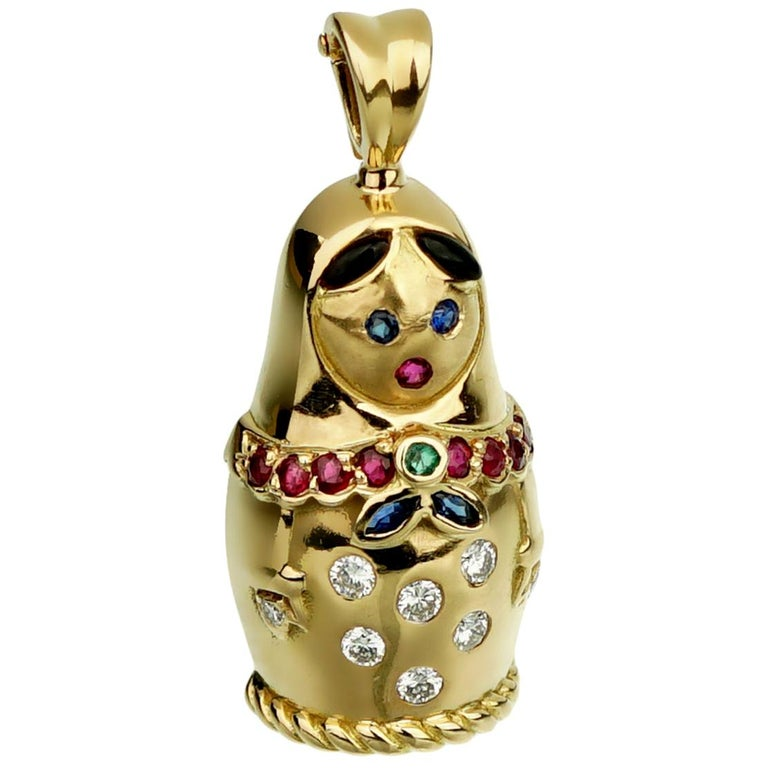 Fred of Paris Matryoshka Diamond Doll Gold Pendant Necklace For Sale