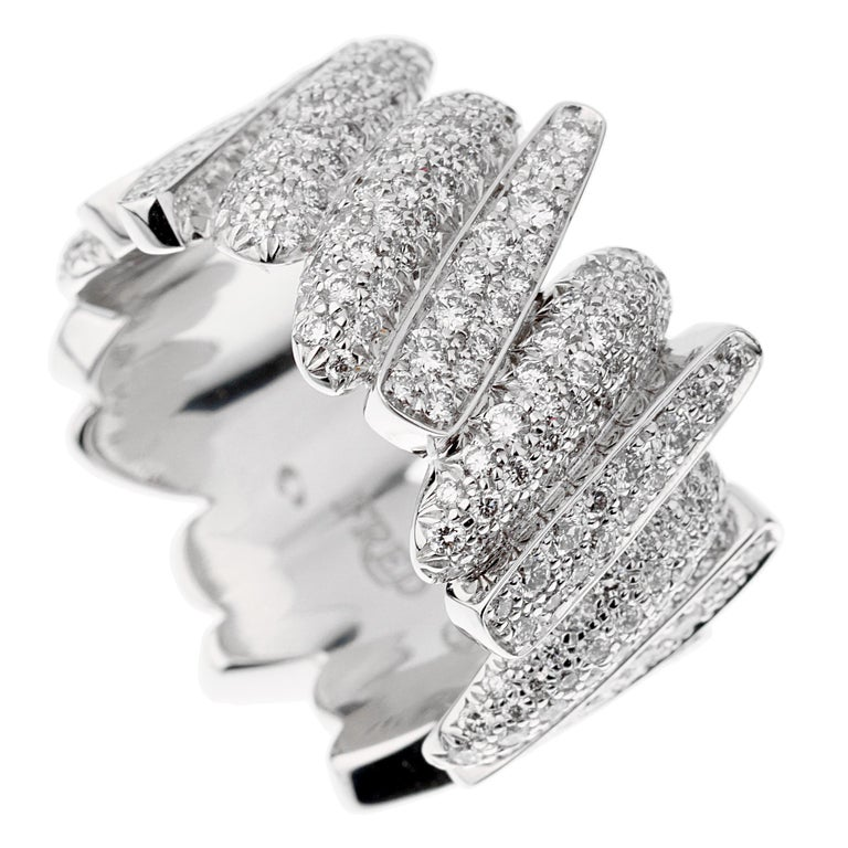 Round Cut Fred of Paris Pave Diamond White Gold Ring For Sale