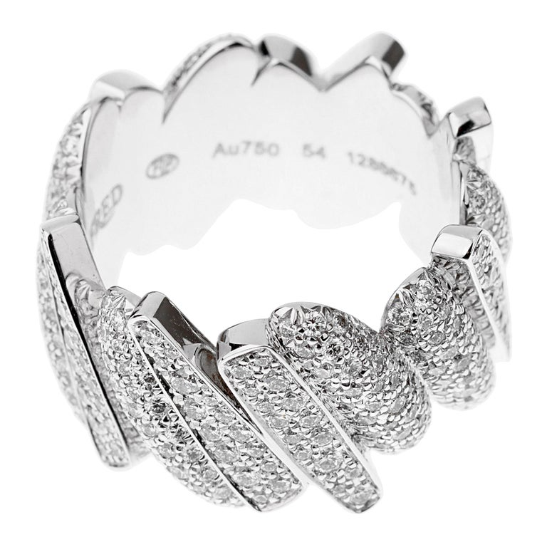 Fred of Paris Pave Diamond White Gold Ring In New Condition For Sale In Feasterville, PA