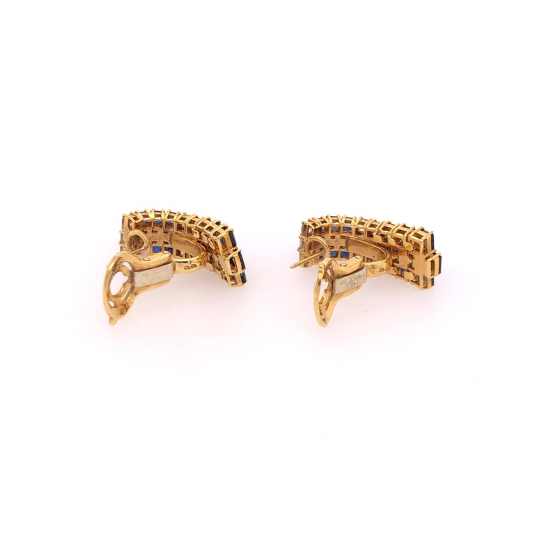 Modern Fred of Paris Sapphire and Diamond Yellow Gold Earrings For Sale