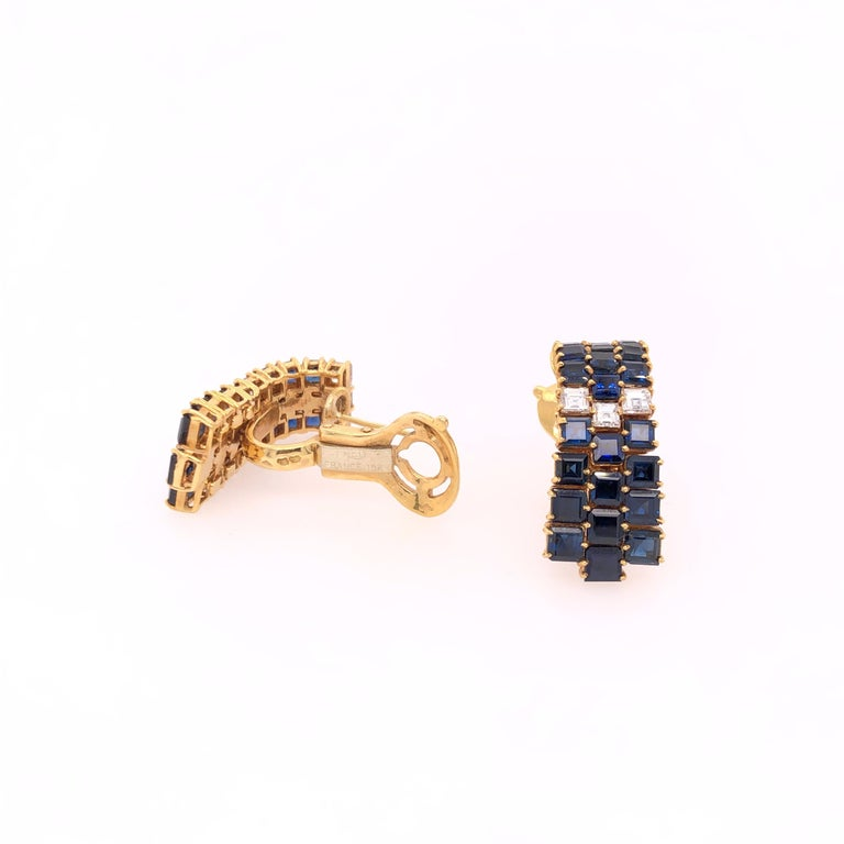 Fred of Paris Sapphire and Diamond Yellow Gold Earrings In Good Condition For Sale In Dallas, TX