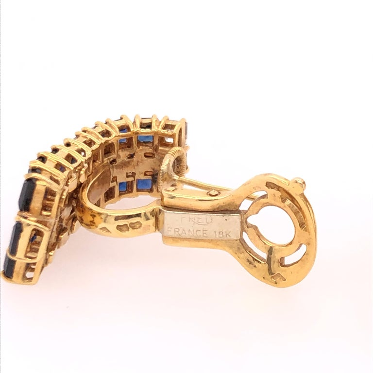 Women's Fred of Paris Sapphire and Diamond Yellow Gold Earrings For Sale