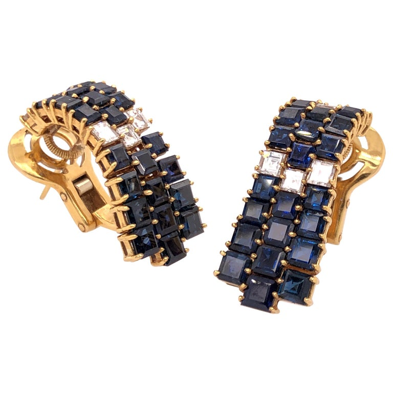 Fred of Paris Sapphire and Diamond Yellow Gold Earrings For Sale