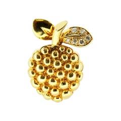 Fred Paris 18 Karat Gold Raspberry Brooch with Diamonds
