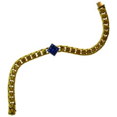 Fred Paris 18 Karat Yellow and White Gold & Sapphire Link Bracelet, circa 1980s