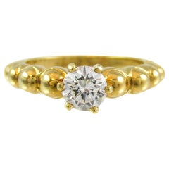 Fred Paris 18 Karat Yellow Gold Diamond Solitaire Engagement Ring