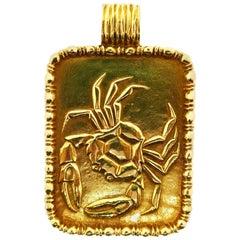 Fred Paris 18 Karat Yellow Gold Zodiac Cancer Pendant