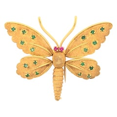 Fred Paris 18k Emerald & Ruby Articulated Butterfly Brooch