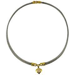 Fred Paris 18 Karat Gold and Steel Diamond Necklace
