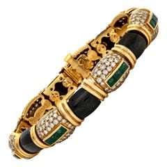 Fred Paris Black Enamel Emerald and Diamonds Bracelet