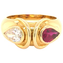 Fred Paris Diamond and Ruby Cocktail Ring 1.65 Carat