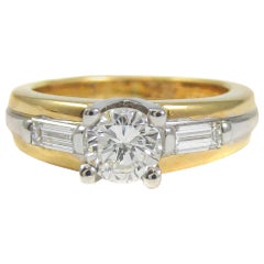 Fred Paris Diamond Platinum and 18 Karat Gold Solitaire Engagement Ring