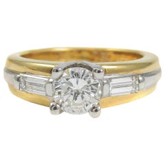 Fred Paris Diamond Platinum and 18 Karat Gold Solitaire Engagement Ring