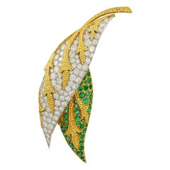 Fred Paris Emerald Diamond Two-Tone Gold Two Leaf Brooch