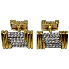 Fred Paris Force 10 Cufflinks in 18 Karat Yellow Gold and Steel