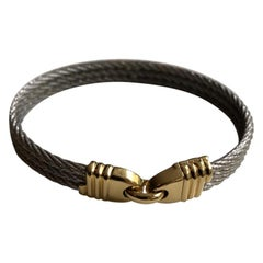 Fred Paris Force 10 Sailing Bracelet in Steel and 18 Karat Yellow Gold, France
