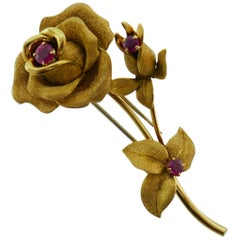 Fred Paris Georges L'Enfant 18k Yellow Gold & Ruby Flower Brooch Clip circa 1980