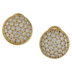 Fred Paris Diamond Button Cluster Earrings Set in 18k Yellow Gold