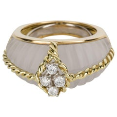 Fred Paris Rock Crystal and Diamond Cocktail Ring