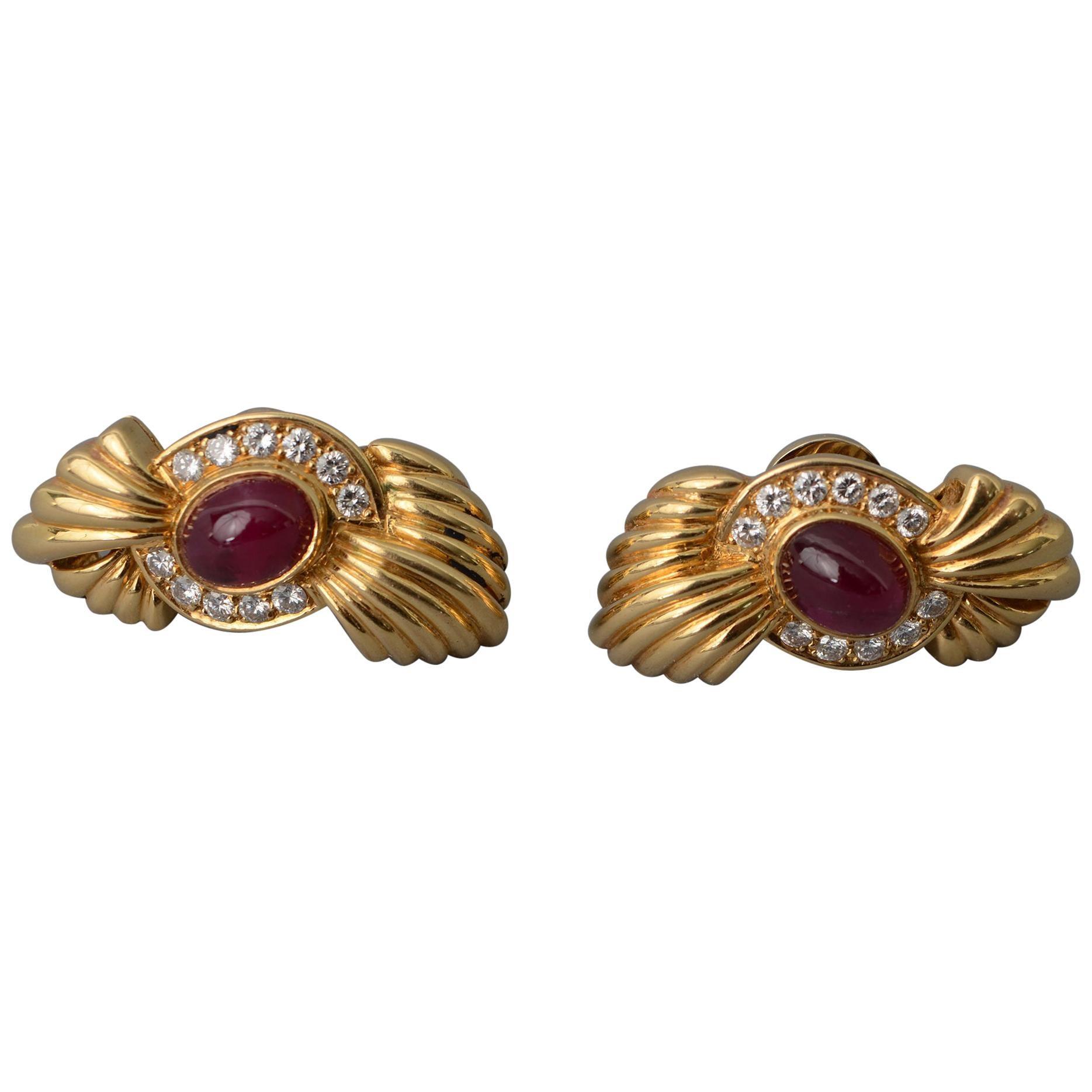 Fred Paris Ruby Diamond Earrings