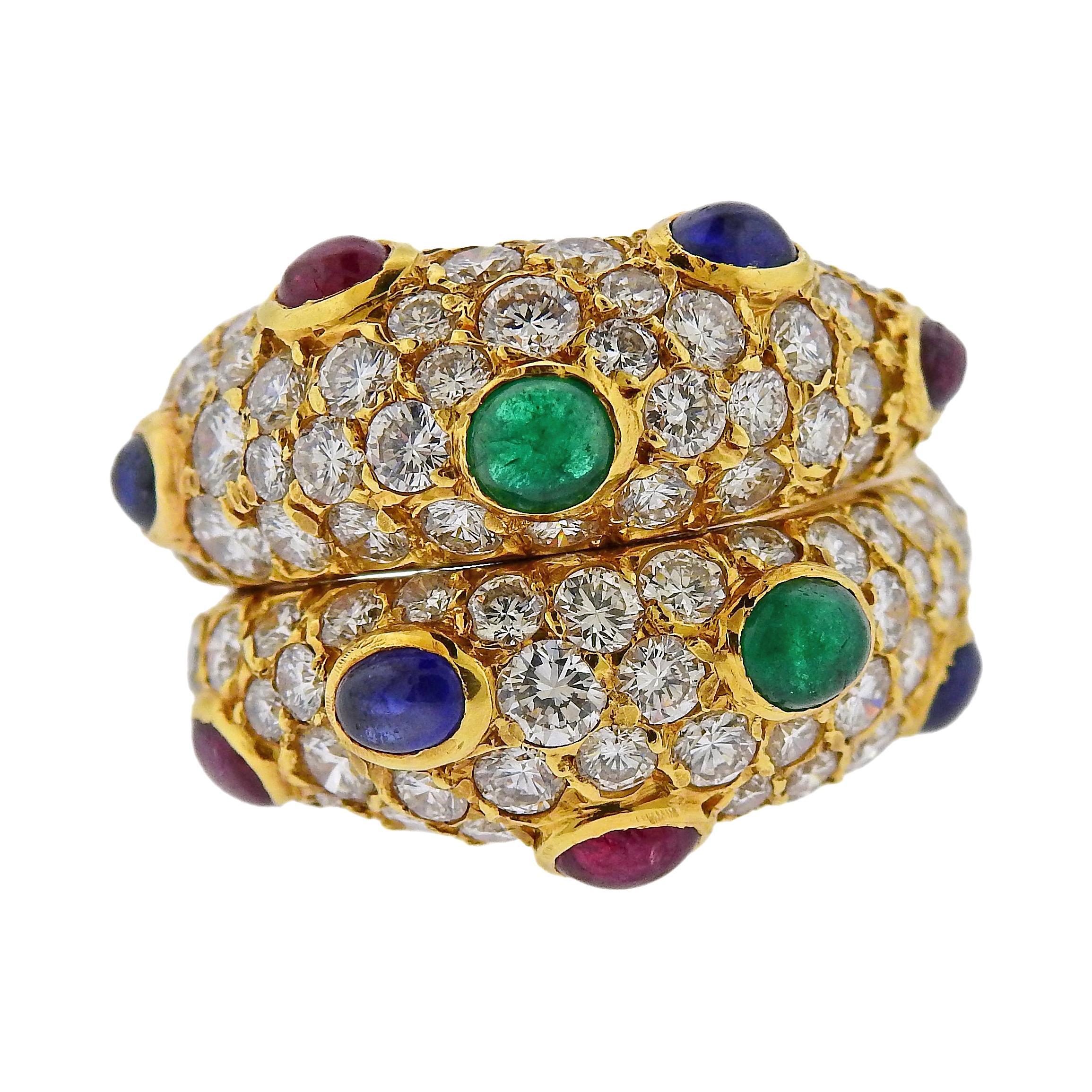 Fred Paris Sapphire Emerald Ruby Diamond Gold Ring