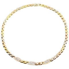 Fred Paris Yellow, White and Rose Gold Diamond Flexible Necklace