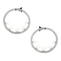 Fred Pearl Diamond Hoop Earrings