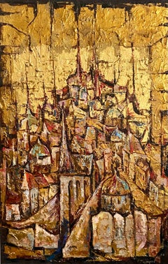 Large Abstract Cityscape Jerusalem of Gold Oil Painting Jewish Modernist Judaica