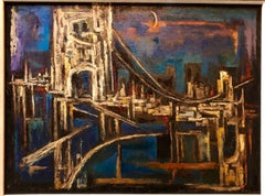Large Abstract Cityscape NYC Bridge scene Oil Painting Jewish Modernist