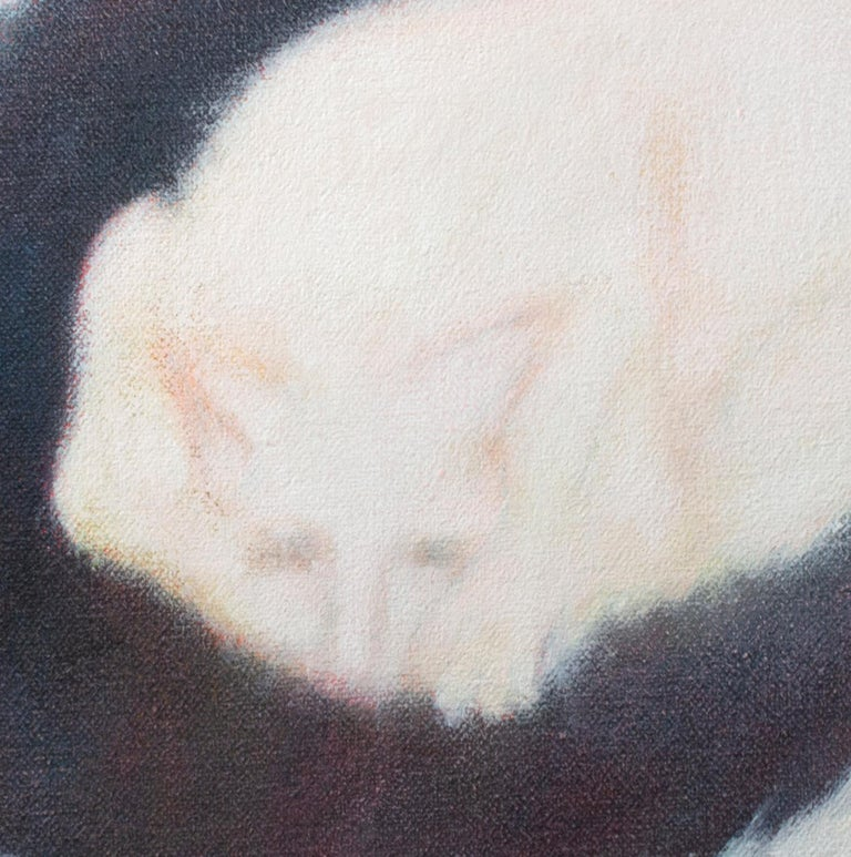'Black Mat' original signed alkyd on canvas painting of white cat sleeping For Sale 2