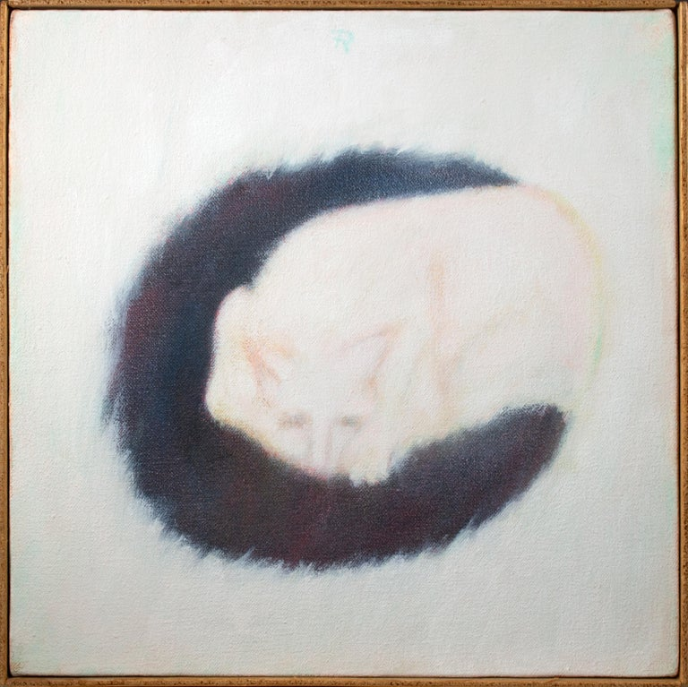 Fredrick Reichman Figurative Painting - 'Black Mat' original signed alkyd on canvas painting of white cat sleeping