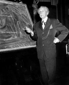 Frank Lloyd Wright with Chalkboard Globe Photos Fine Art Print