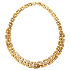 Fred Tank 'Panther' Mesh Necklace in 18 Carat Yellow Gold and Diamonds