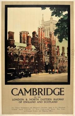 Original Vintage Poster Cambridge College University City LNER Railway Travel