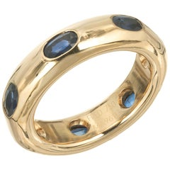 Fred the Jeweler Sapphire Yellow Gold Eternity Band Ring