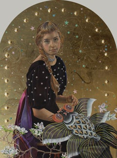 The Constellation Delphinus, Egg Tempera Painting