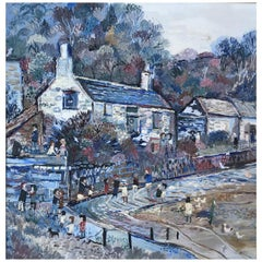 Fred Yates, Oil on Board, Cornish Village Scene