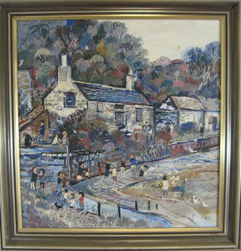 Fred Yates Cornish Village Scene, Oil on Board For Sale 5