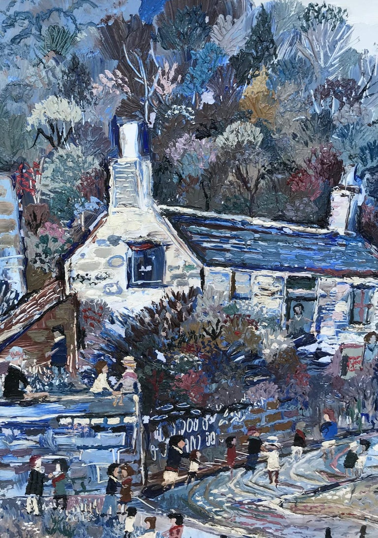 Painted Fred Yates Cornish Village Scene, Oil on Board For Sale