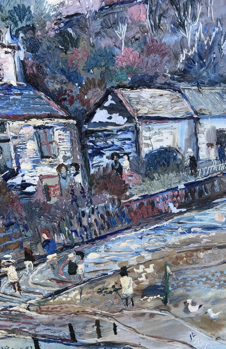 20th Century Fred Yates Cornish Village Scene, Oil on Board For Sale