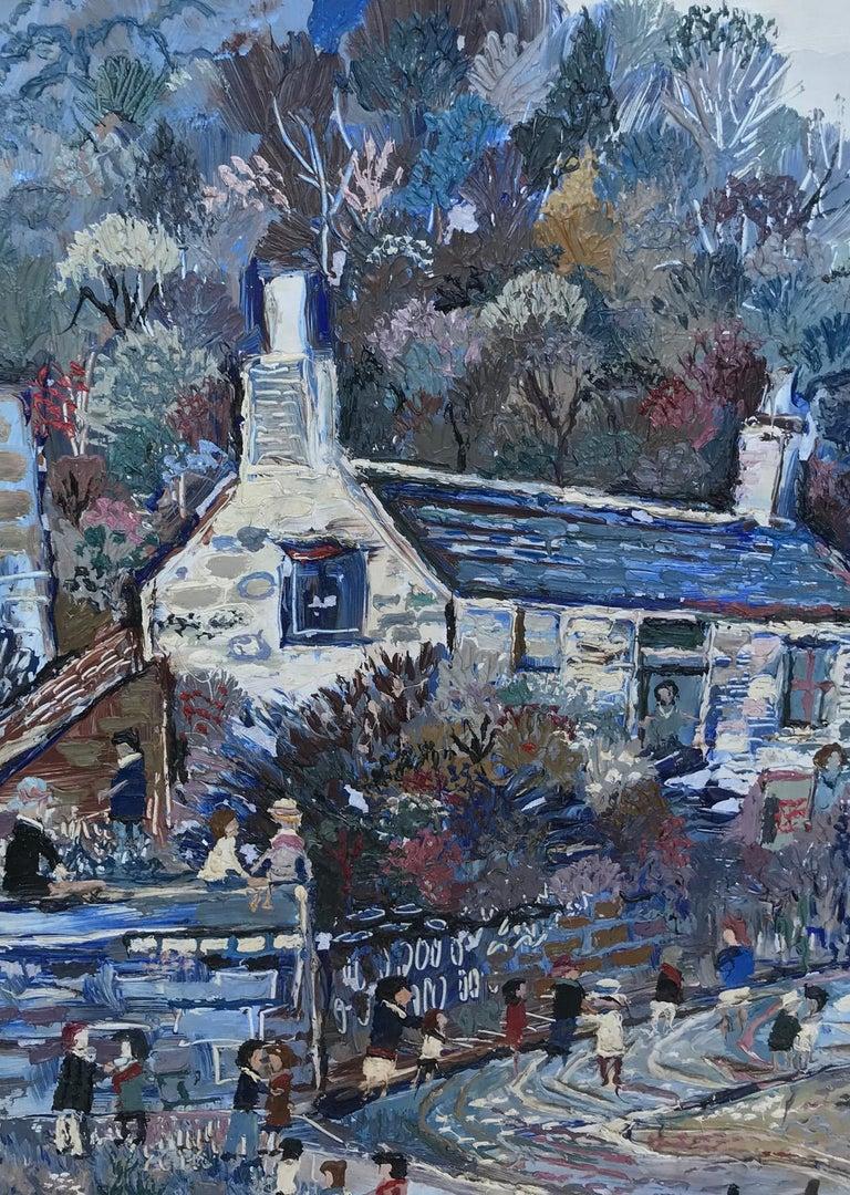 Masonite Fred Yates Cornish Village Scene, Oil on Board For Sale