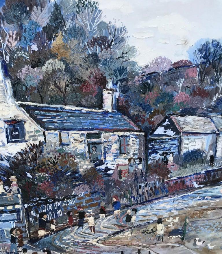 Fred Yates Cornish Village Scene, Oil on Board For Sale 1